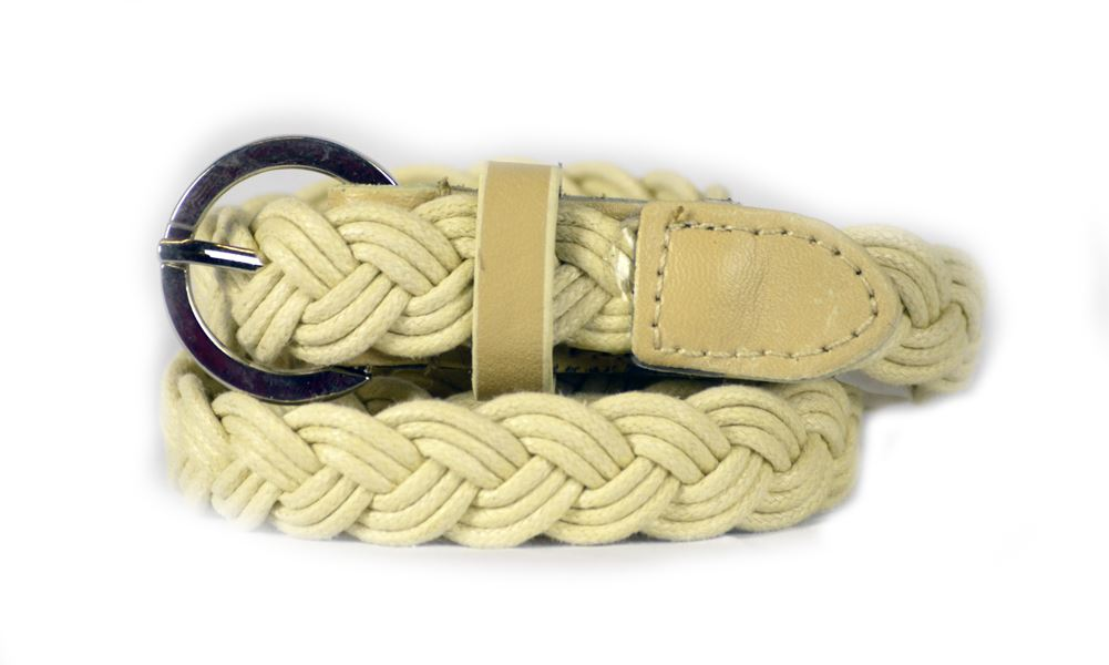 Dabung- Women's Dress Belt Stylish Braided Stretch Cotton Belts for Women - Beige/Medium