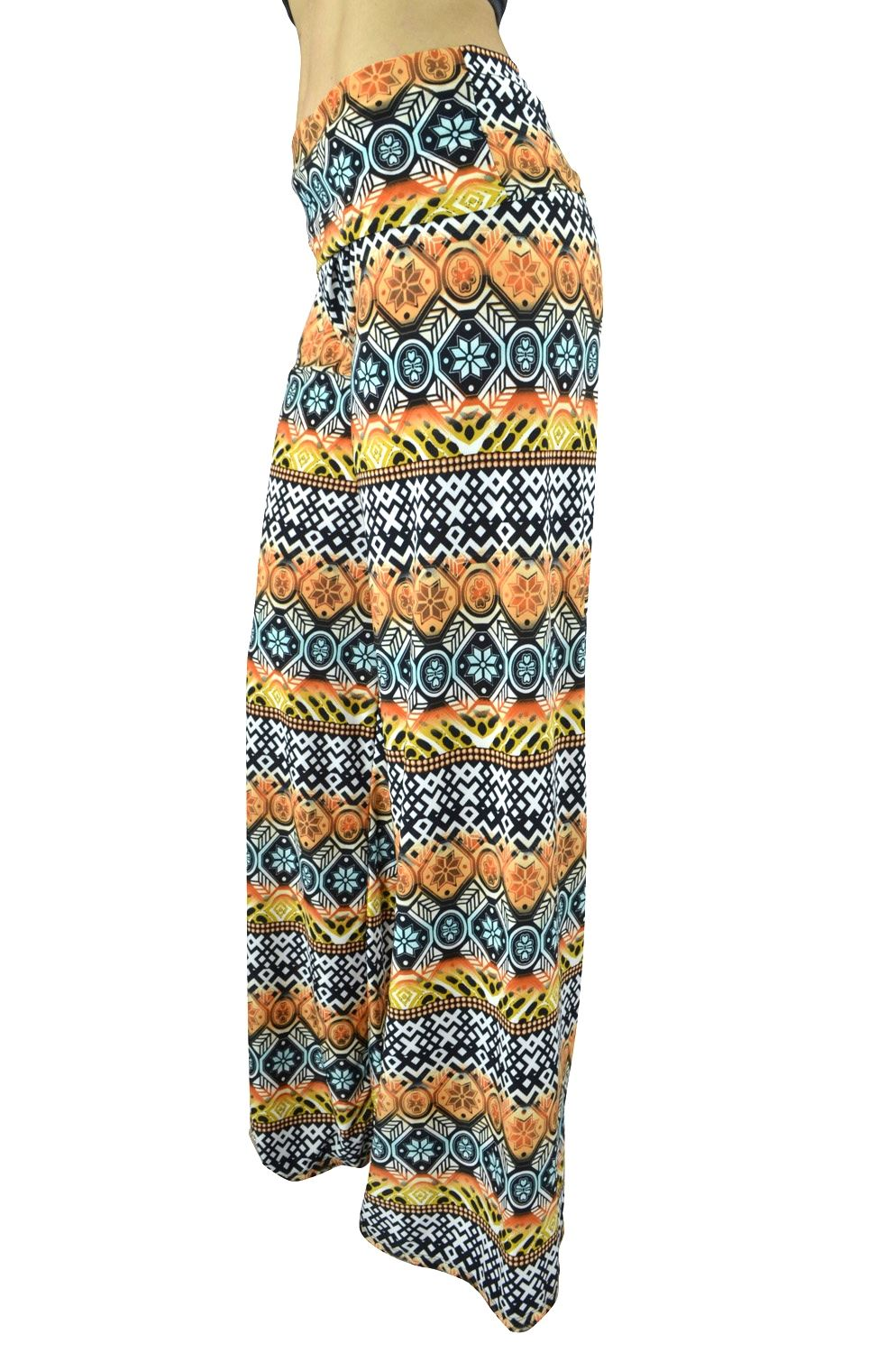 Belle Donne Women Palazzo Pants Chevron Aztec Tribal HighWaist Pants - Black/Medium