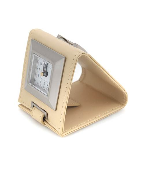 Travel-Time Leather Easel Alarm Clock Beige