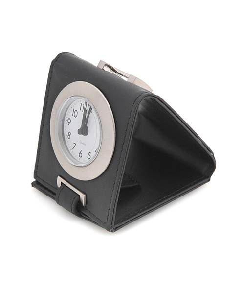 Travel-Time Leather Easel Alarm Clock- Black