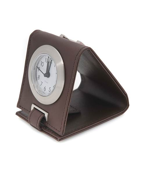 Travel-Time Leather Easel Alarm Clock Brown