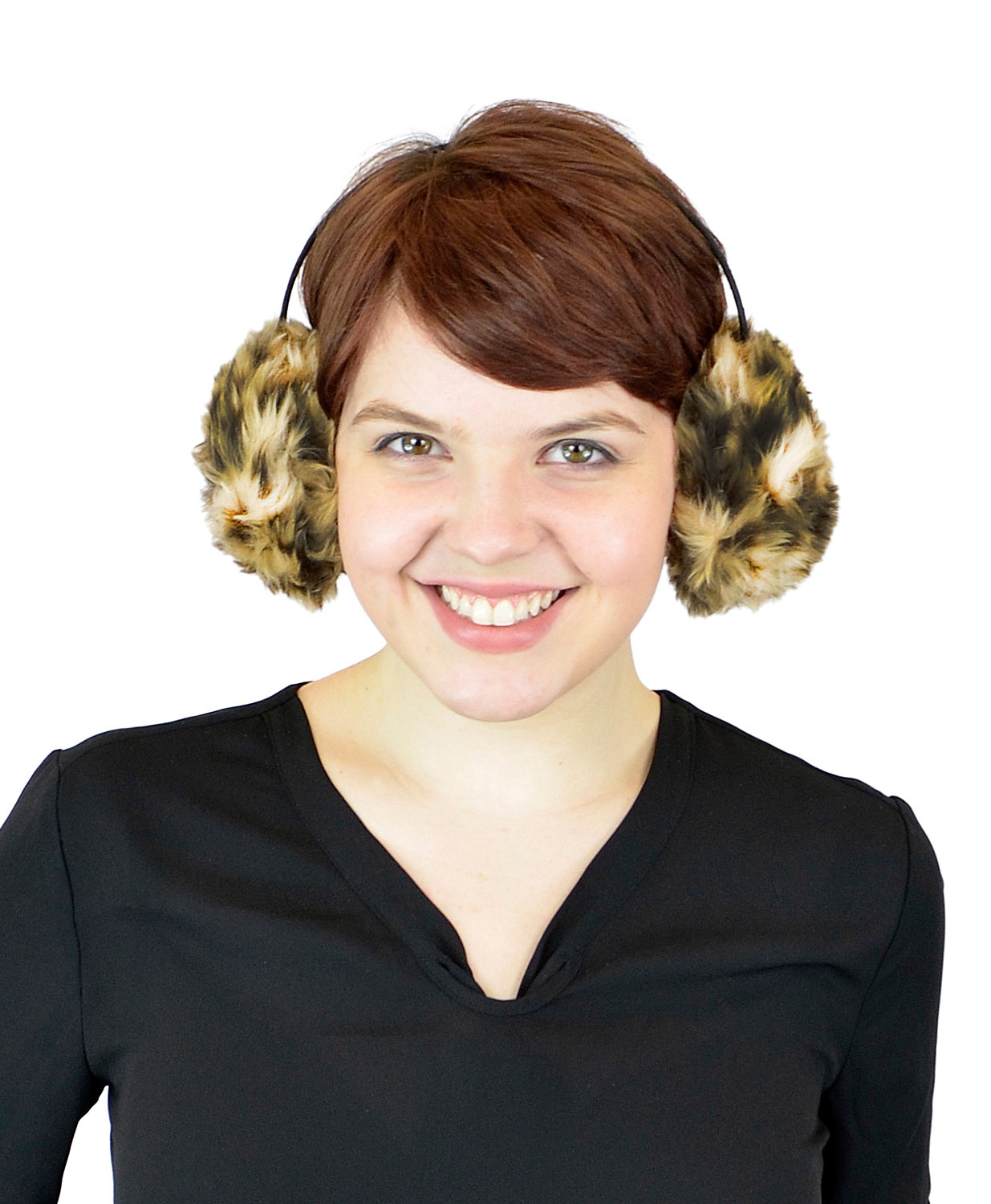 Women's Winter Ear Warmers - Faux Furry Warm Outdoors Ear Muffs - Fashion Earbands and Earmuffs by Belle Donne - Camel