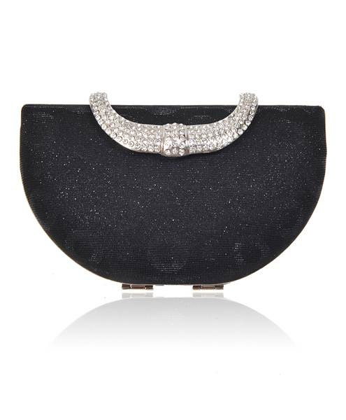Mini Clutch Purse with Half Moon Sparkling Metal Arch Closure