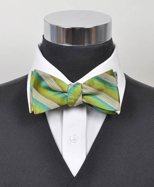 Passion Striped Silk Woven Freestyle Bow Tie, Green