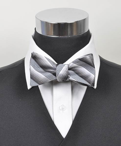 Passion Striped Silk Woven Freestyle Bow Tie, SIlver
