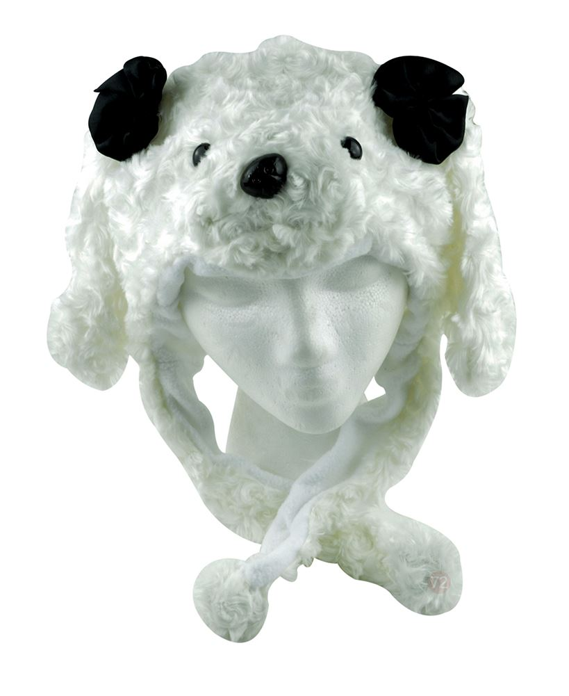 Plush Animal Winter Hat White Poodle / puppy
