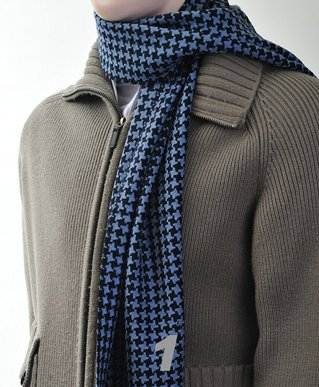 Unisex Premium 100% Wool Scarf Blue Black