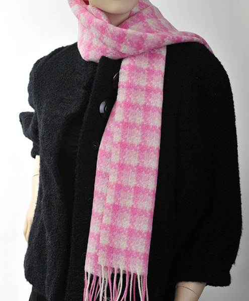 Check Soft Warm 100% Wool Scarf Pink