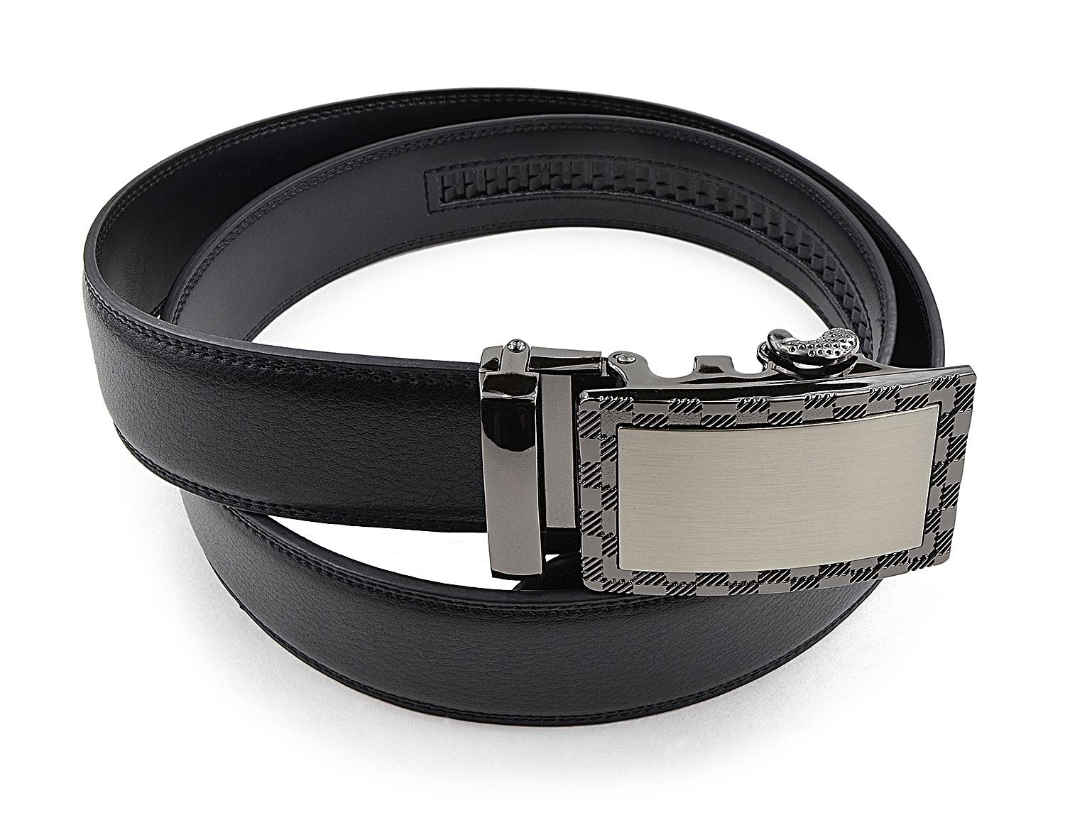 Mens Leather Belt with Automatic Slide Buckle - Black PU Leather Ratchet Belt by Moda Di Raza - Black One Size