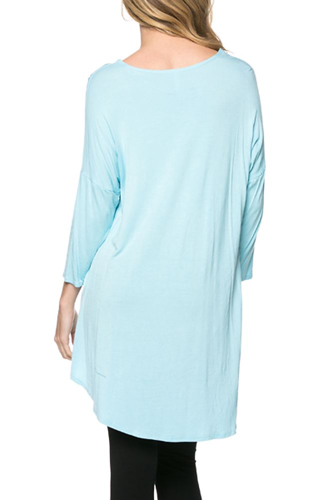 Belle Donne Women Plus Size Tunic Top Loose Jersey Style Casual Blouse - Aqua Medium