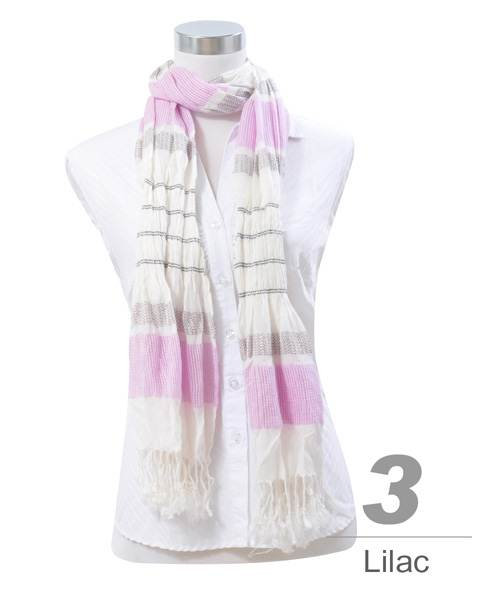 Viscose Shawl Stripes Pattern Fringed End Scarf