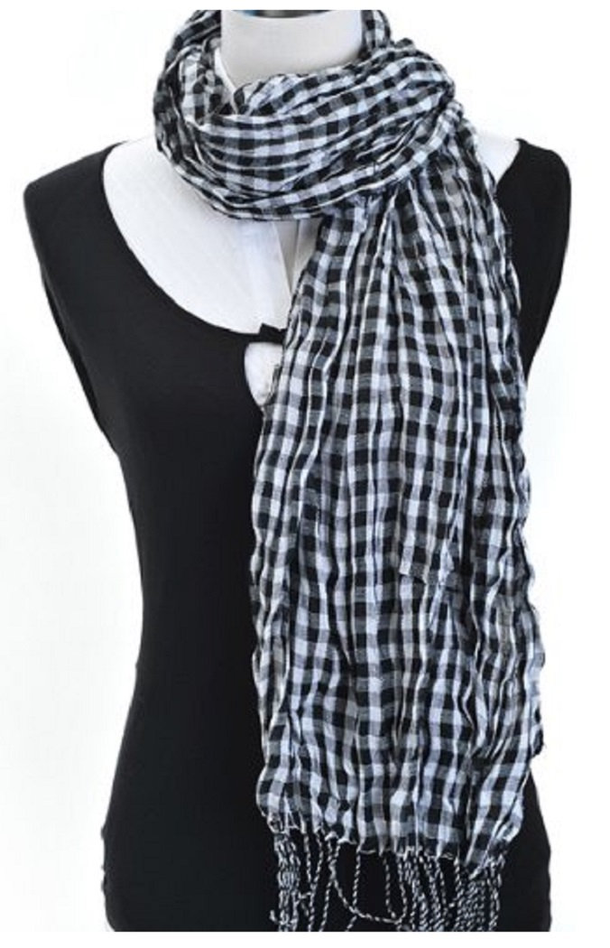 Viscose Small Square With Stripes Fringed End Scarf For Women-BlackWhite