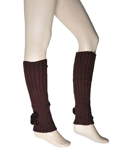 Ladies' Solid Color Knit Leg Warmers with Pom-Poms Brown