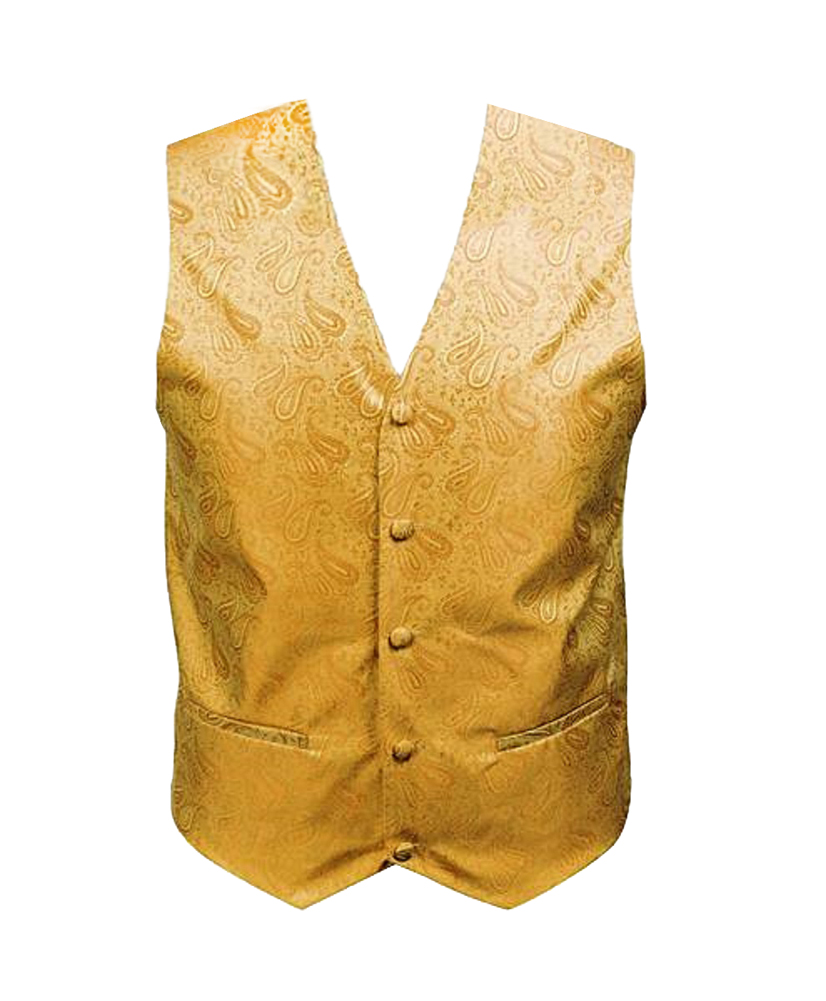 Paisley Men's Poly Woven Vest , 3X , Yellow