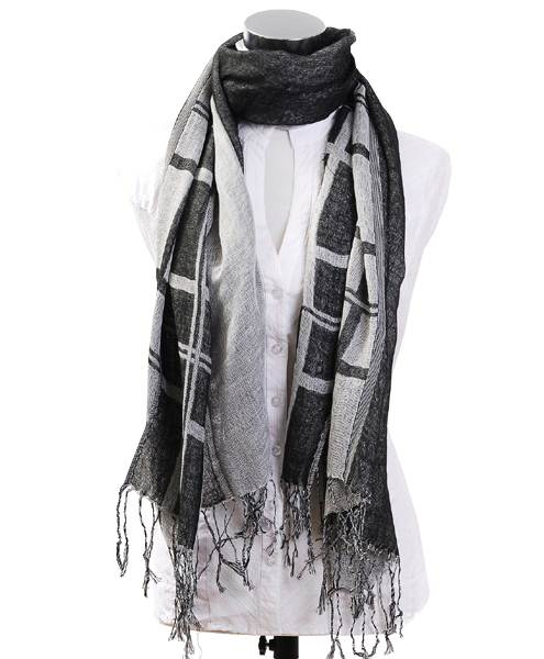 A Unisex Geometric Design With Tassel Rayon Scarf-Black &White;