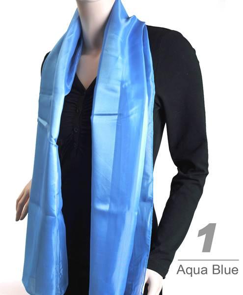 Solid Polyester Satin Scarf, AQUA BLUE