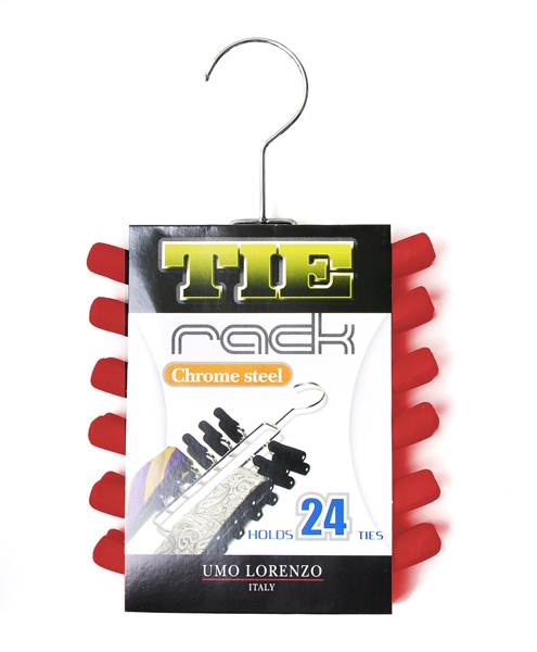 Chrome ladder plated Tie Rack Red Color