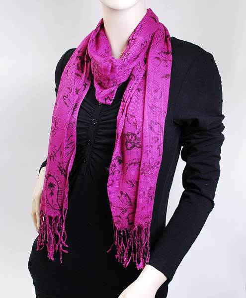 100% Viscose Floral  Print With Fringed end Scarf For Women-HotPink
