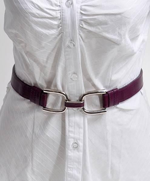 U-Latch Buckle Leather Skinny Adjustable Belt-Dark Purple
