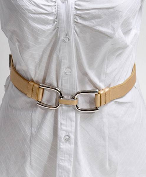 U-Latch Buckle Leather Skinny Adjustable Belt-Gold