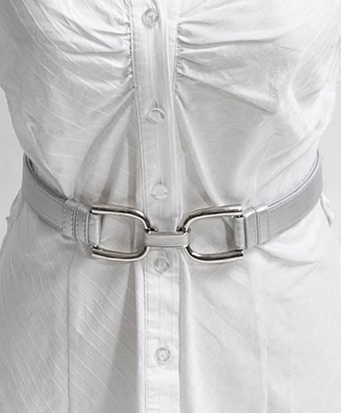 U-Latch Buckle Leather Skinny Adjustable Belt-Silver