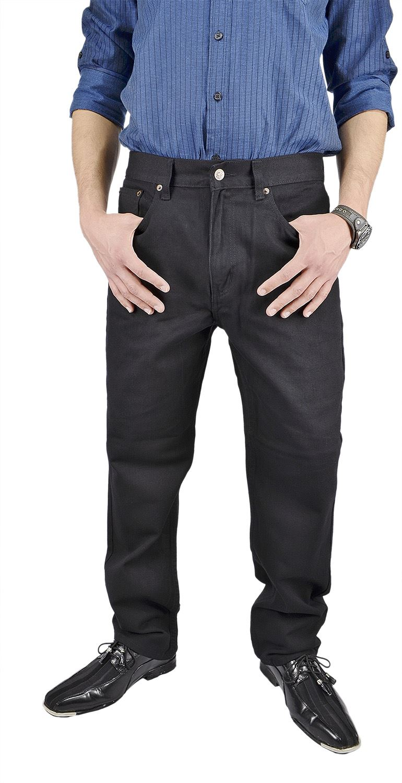 Moda Di Raza- Men's Basic Straight Leg Fit Zip Fly Jeans - Black Jeans/34x32