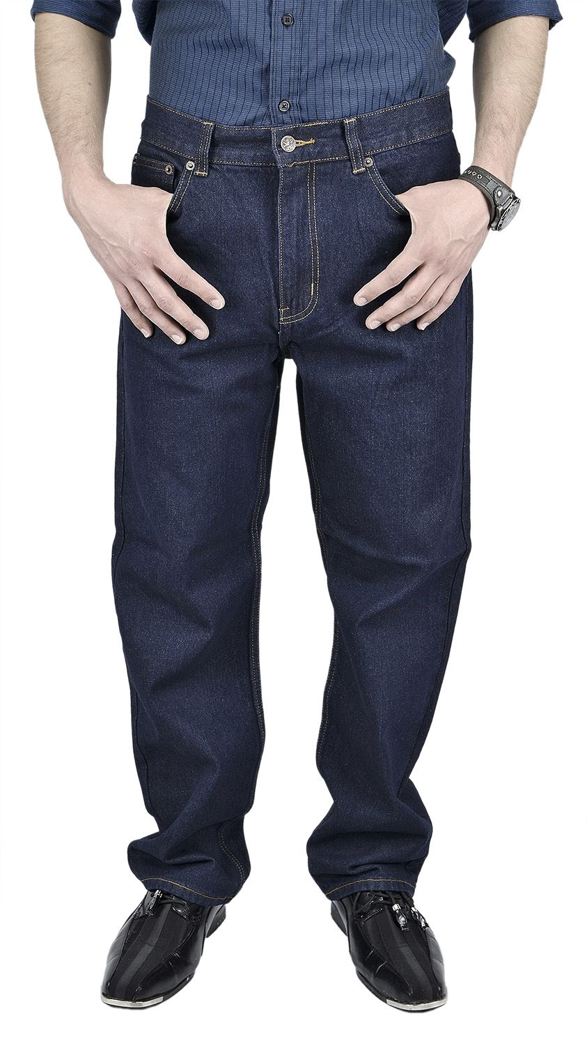 Moda Di Raza- Men's Basic Straight Leg Fit Zip Fly Jeans - Dark Blue/32x30