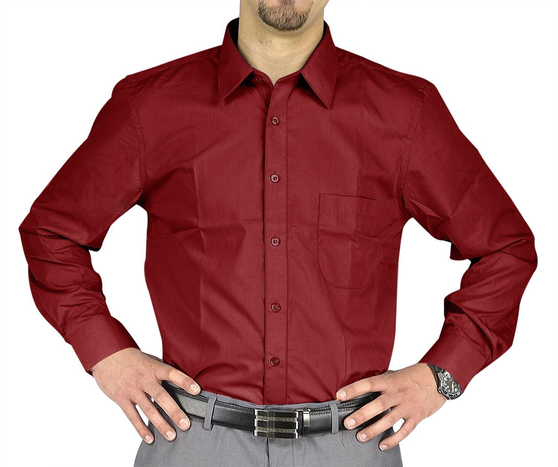 Moda Di Raza- Men's Slim Fit Casual Dress Shirts - Burgundy / 34/35-18.5
