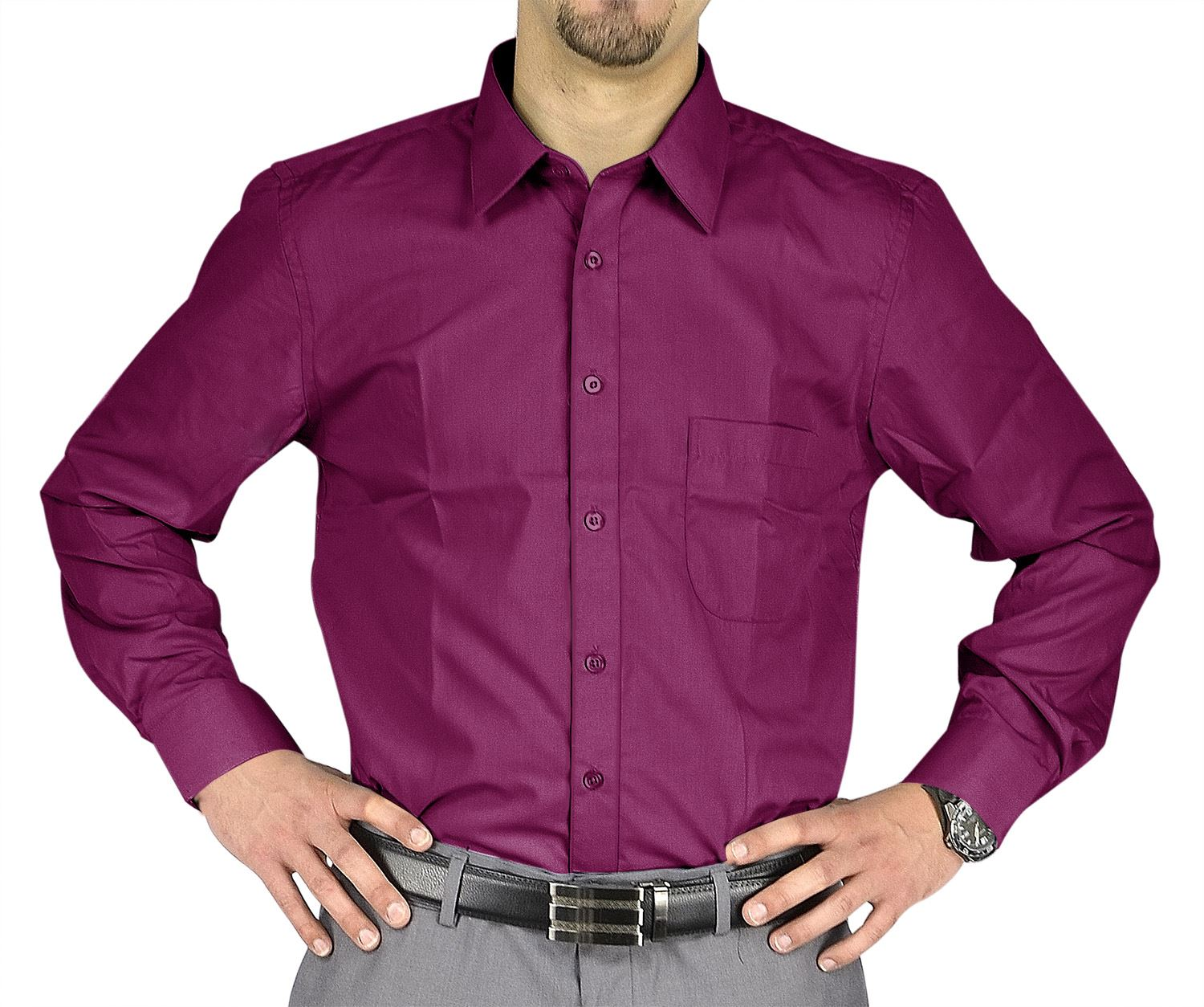 Moda Di Raza- Men's Slim Fit Casual Dress Shirts - Raspberry / 34/35-17.5