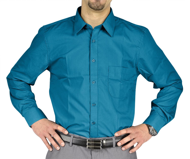 Moda Di Raza- Men's Slim Fit Casual Dress Shirts - Real Turquoise / 34/35-18.5