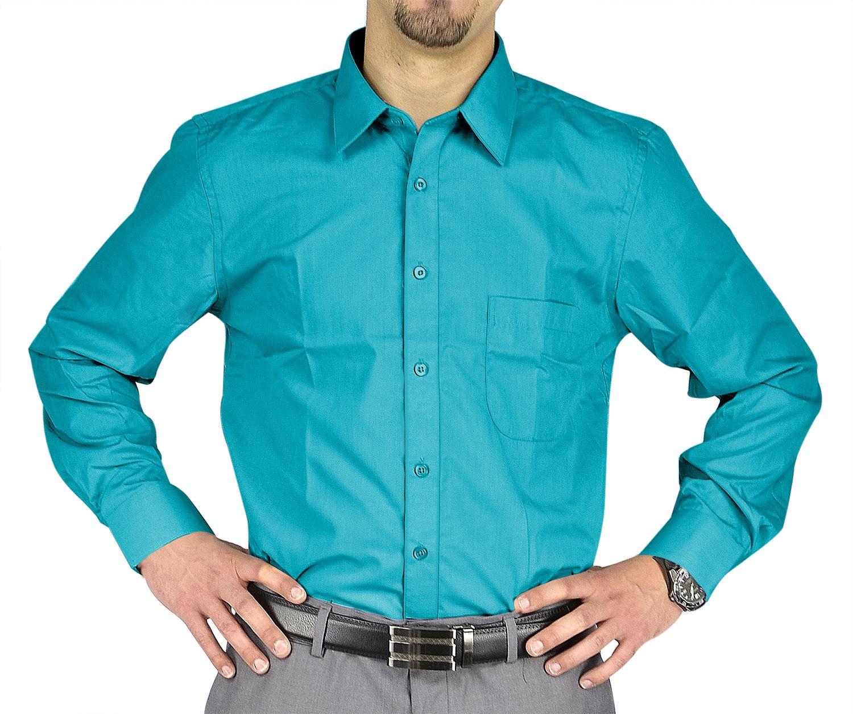 Moda Di Raza- Men's Slim Fit Casual Dress Shirts - Turquoise / 32/33-15.5