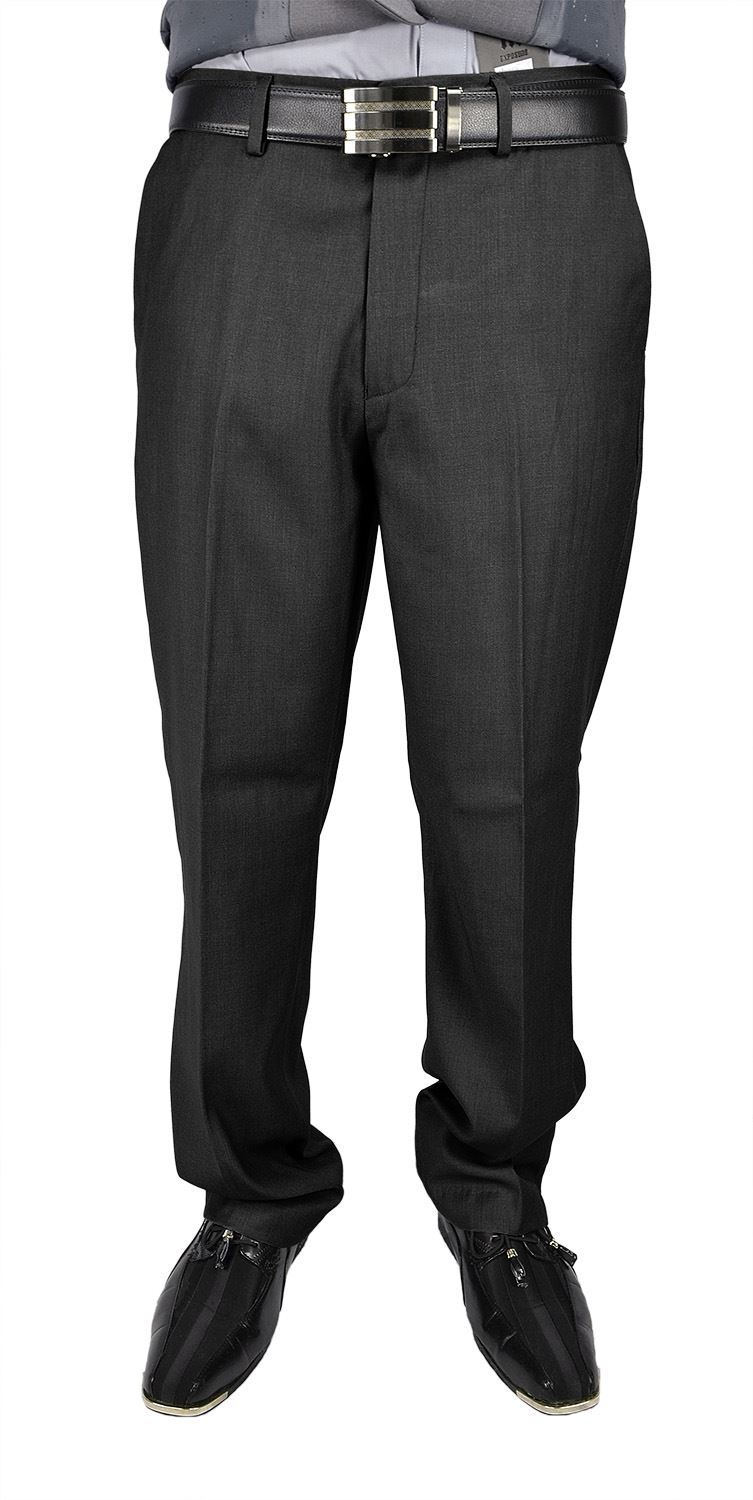 Moda Di Raza Men's Dress Pant - Flat Front Cuffed - Office Dress Pant - Charcoal/32W/30L