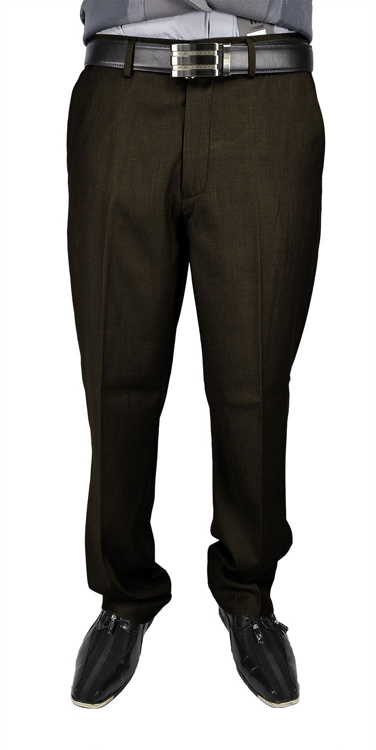 Moda Di Raza Men's Dress Pant - Flat Front Cuffed - Office Dress Pant - Coffee/32W/30L
