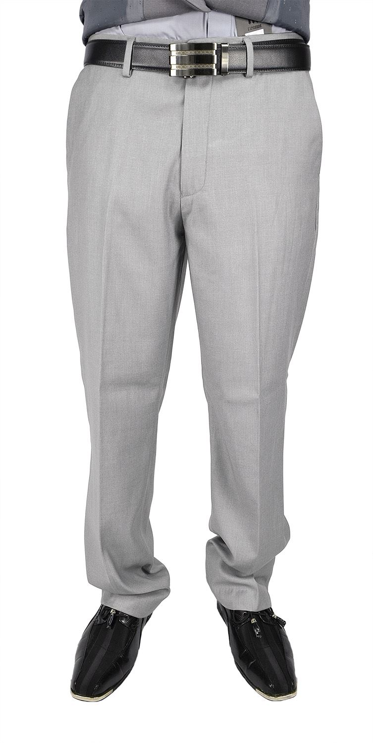 Moda Di Raza Men's Dress Pant - Flat Front Cuffed - Office Dress Pant - LightGray/32W/30L