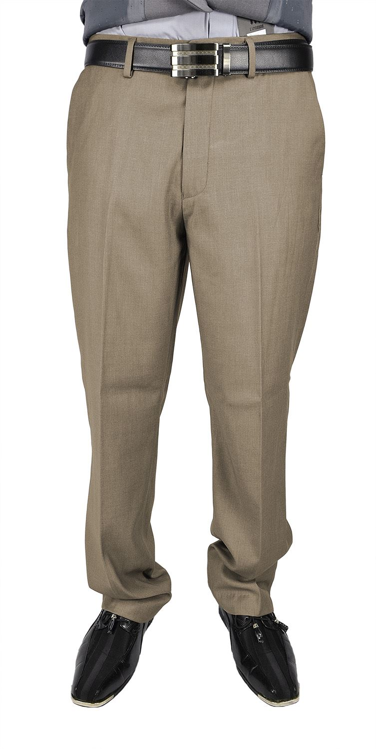 Moda Di Raza Men's Dress Pant - Flat Front Cuffed - Office Dress Pant - Sand/32W/30L