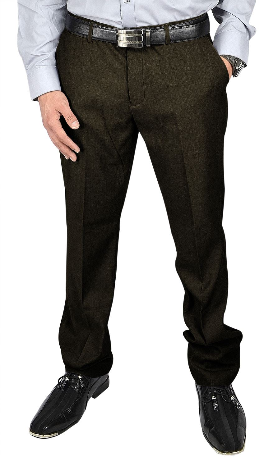 Moda Di Raza- Men's Pants Fashion Formal Business Wedding Dress Pants - Brown-Size: 30x30