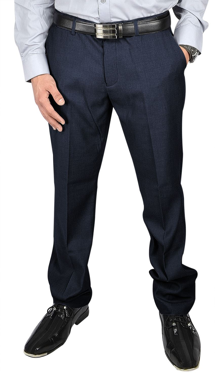 Moda Di Raza- Men's Pants Fashion Formal Business Wedding Dress Pants - Navy-Size: 30x30