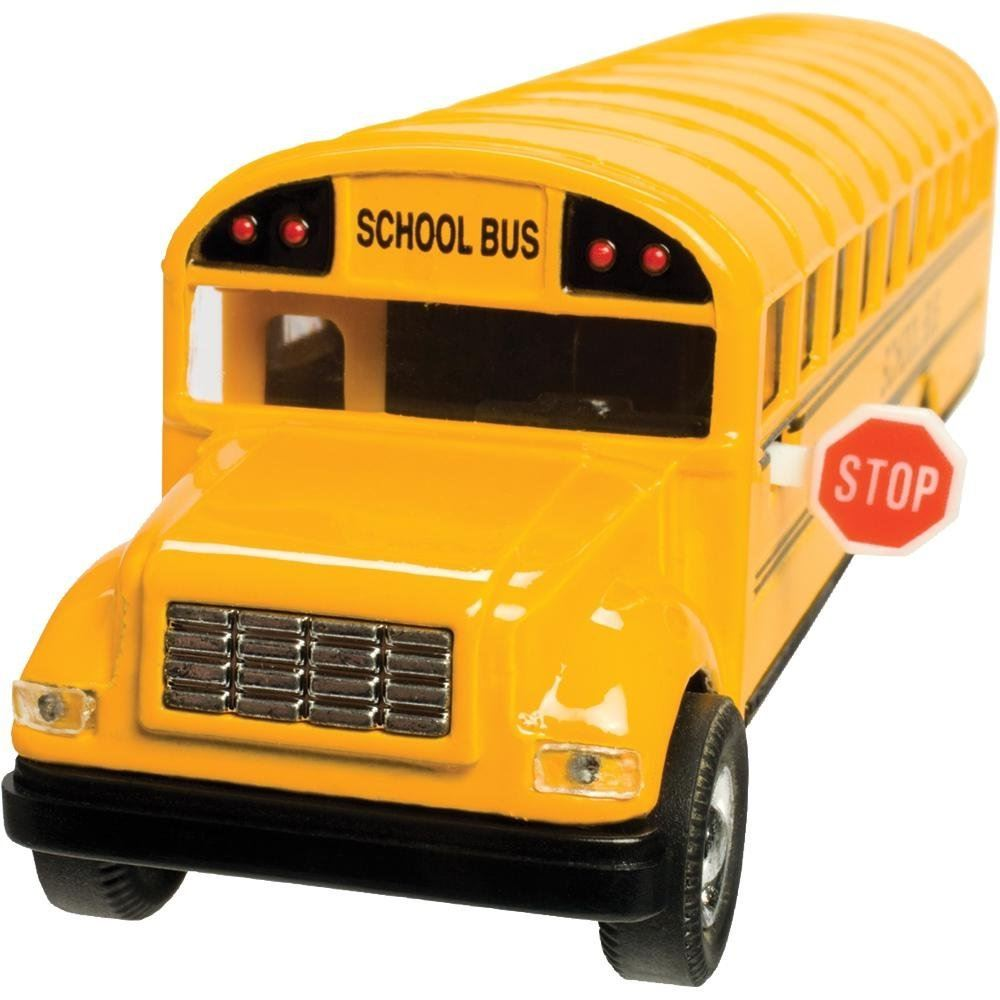7 Inch Long Yellow School Bus Die Cast Pull Back