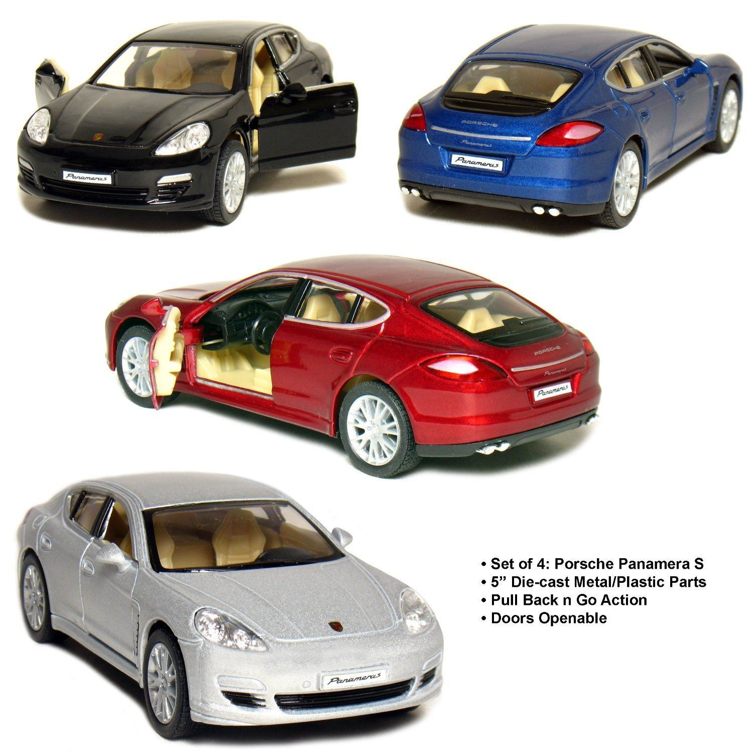 "Set of 4: 5"" Porsche Panamera S 1:40 Scale (Black/Blue/Red/Silver)"