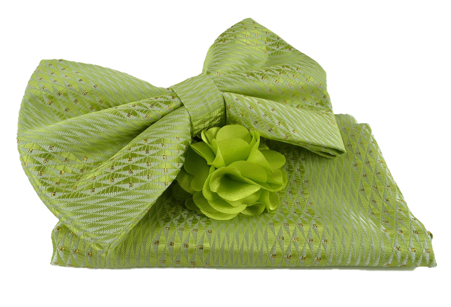 Uomo Vennetto Men's Green Woven Bow Tie with Hanky and Lapel Flower