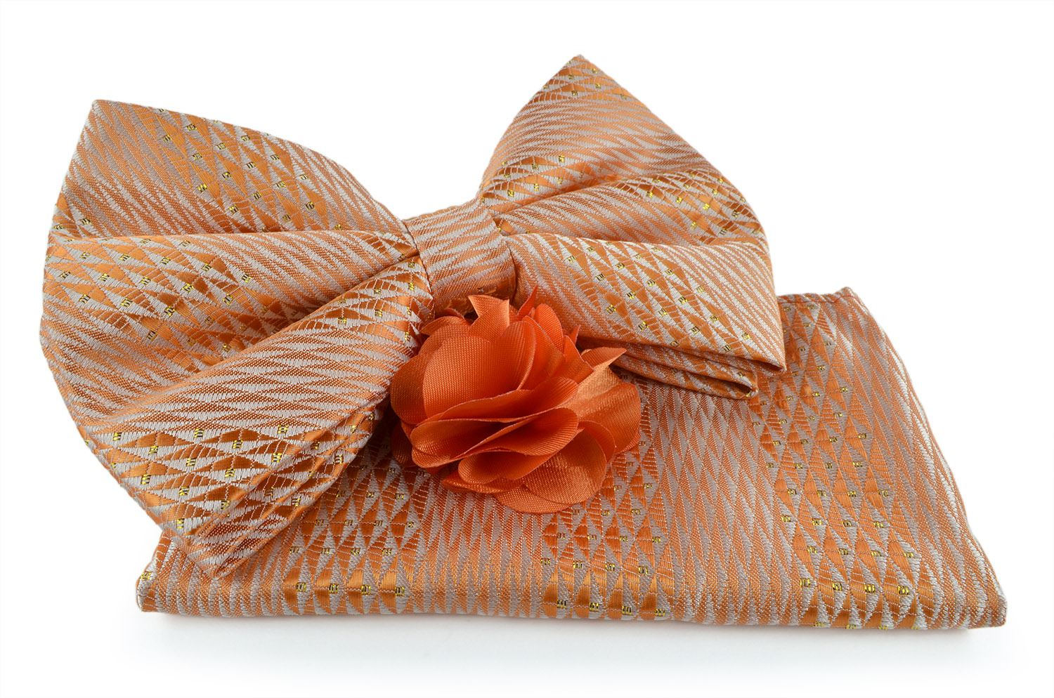 Uomo Vennetto Men's Orange Woven Bow Tie with Hanky and Lapel Flower