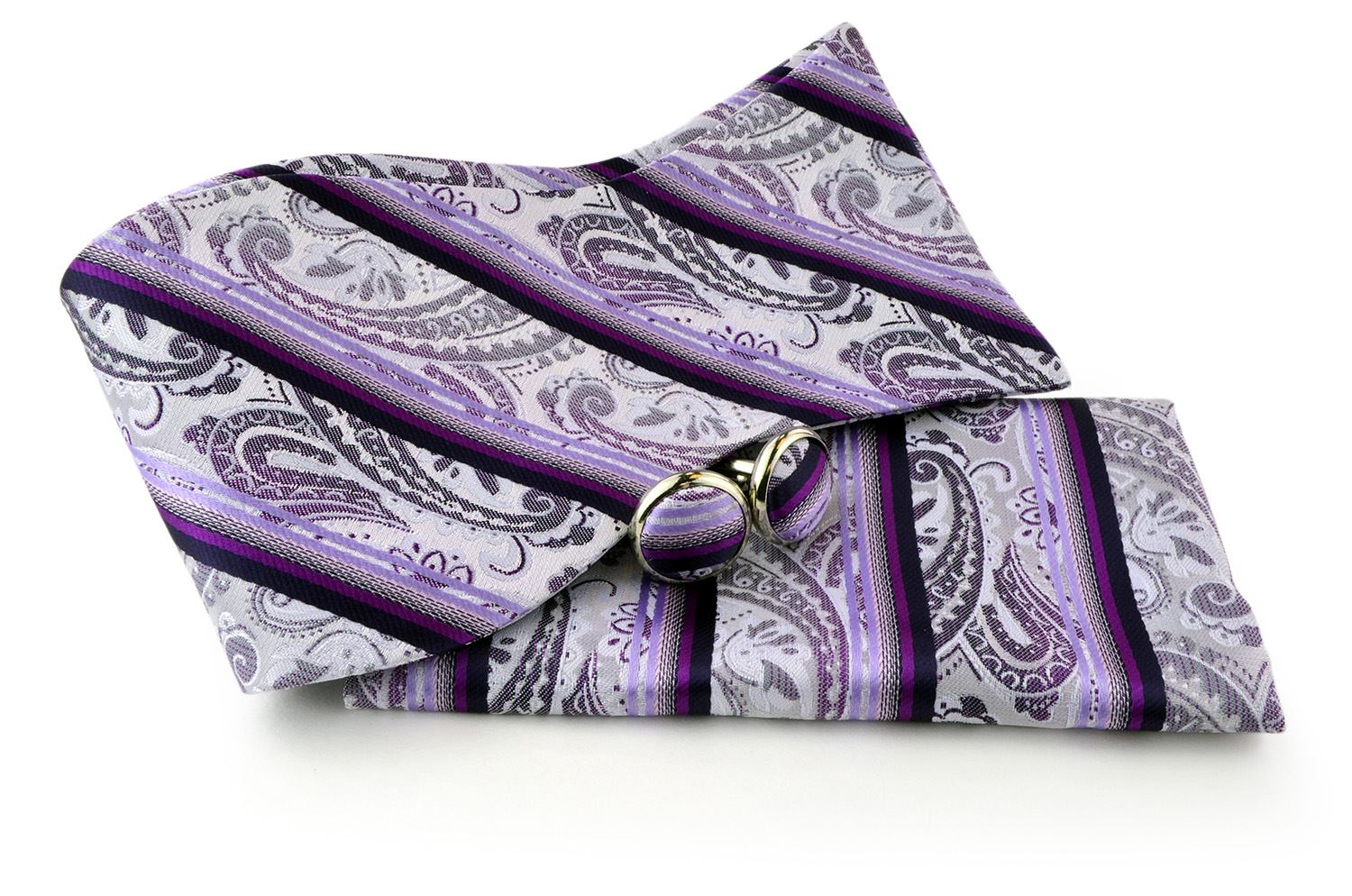 UomoVennetto Men's Violet, Magenta and White Paisley Polyester Self Tie Bow Tie and Cufflinks