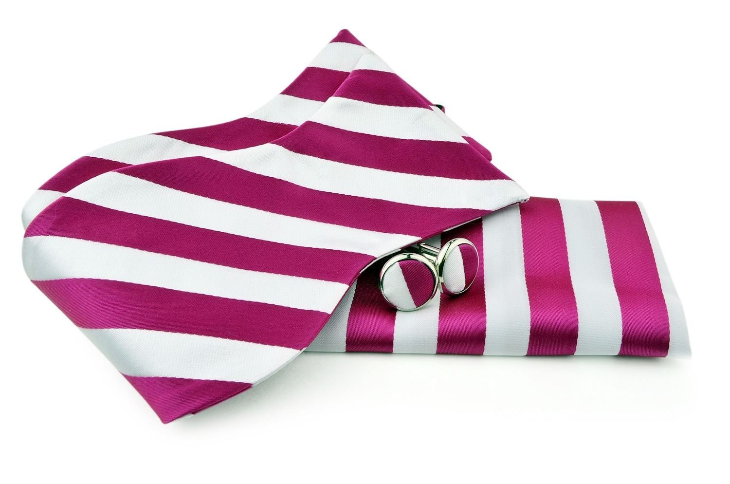 Uomo Vennetto Men's College Striped Polyester Self Tie -Bow Tie and Cufflink Set - DarkPink