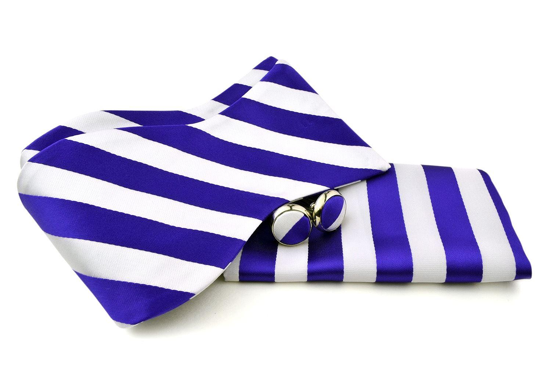 Uomo Vennetto Men's College Striped Polyester Self Tie -Bow Tie and Cufflink Set - Indigo