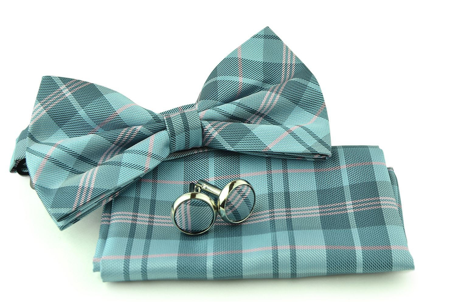 Uomo Vennetto Men's Powder Blue and Pink Plaid Polyester Bow Tie, Hanky and Cufflinks