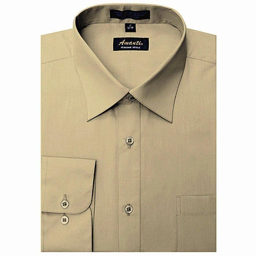 Amanti's Men's Colored Dress Shirt in Tan 19-Sleeve: 34/35-Neck: 19