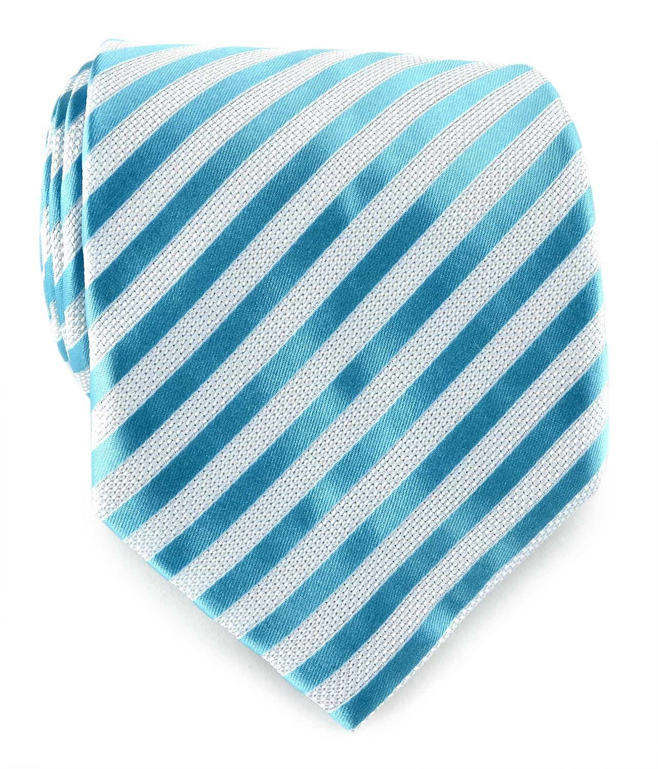 Uomo Vennetto Men's Tie - Clean Thin Striped Tie and Handkerchief Stylish Fashio - Oasis