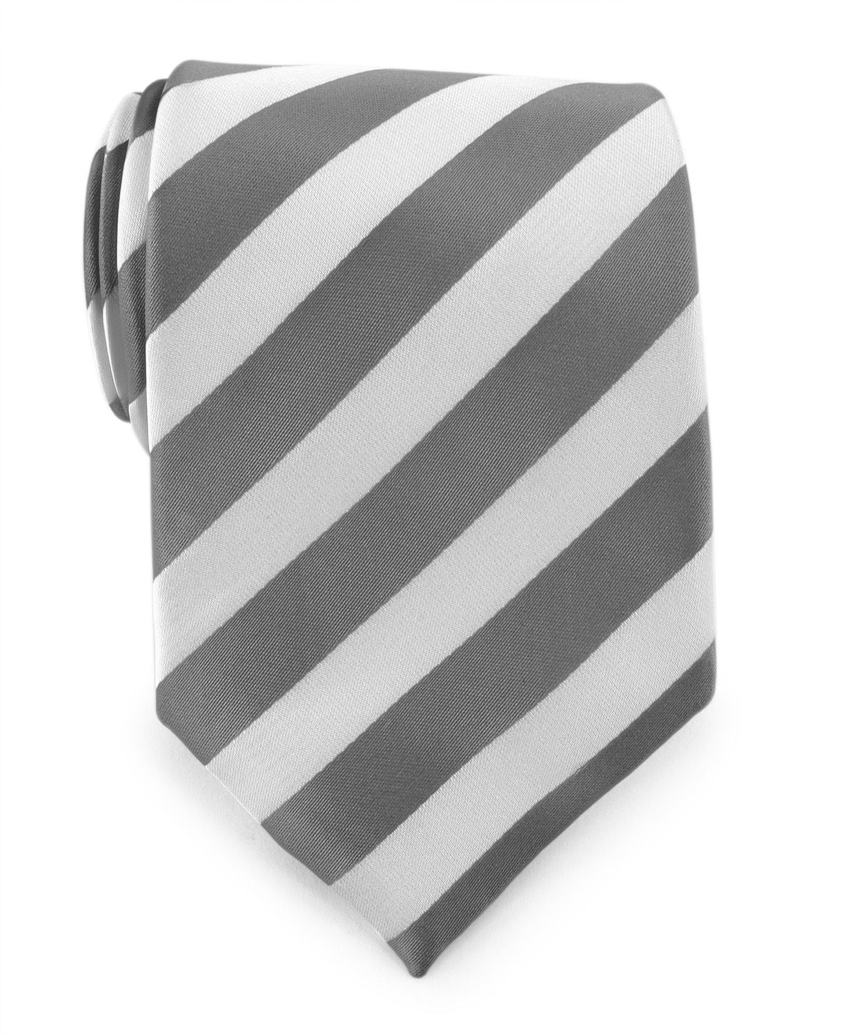 Uomo Vennetto Men's Charcoal and White College Stripe Woven Polyester Tie and Handkerchief Set