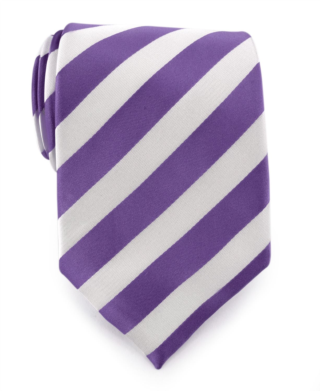 Uomo Vennetto Men's Lilac and White College Stripe Woven Polyester Tie and Handkerchief Set