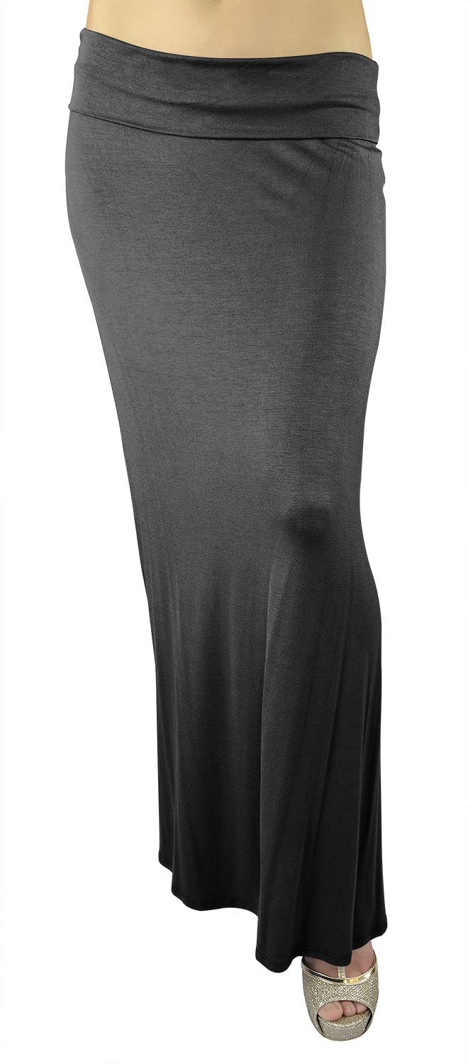 Women's Rayon Span Solid Color Maxi Skirt - Charcoal SIZE M